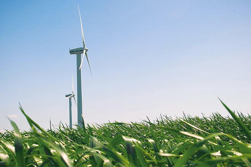 Två vindkraftverk på grön äng med blå himmel bakom