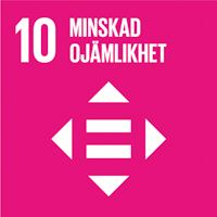 FN:s globala mål cerise ikon nummer 10 Minskad ojämlikhet
