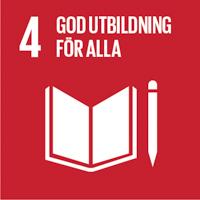 FN:s globala mål mörkröd ikon nummer 4