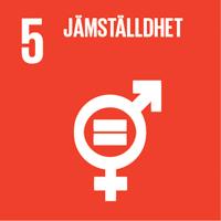 FN:s globala mål röd ikon nummer 5 Jämställdhet