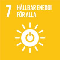 FN:s globala mål gul ikon nummer 7 Hållbar energi för alla