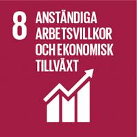 FN:s globala mål vinröd ikon nummer 8 Anständiga arbetsvillkor och ekonomisk tillväxt