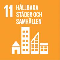 FN:s globala mål oragne ikon nummer 11 Hållbara städer och samhällen.