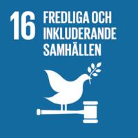 FN:s globala mål blå ikon nummer 16 Fredliga och inkluderande samhällen