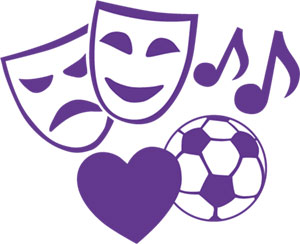 illustration lila ansiktsnasker glad och ledsen samt fotboll, hjärta och musiknoter