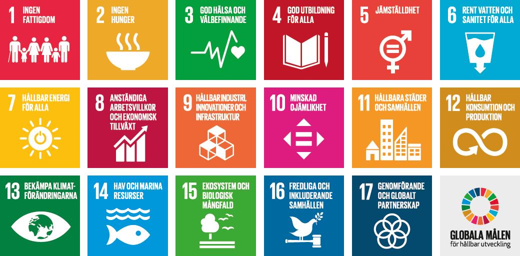 samtliga FN:s globala måls färgglada ikoner samlade på samma bild