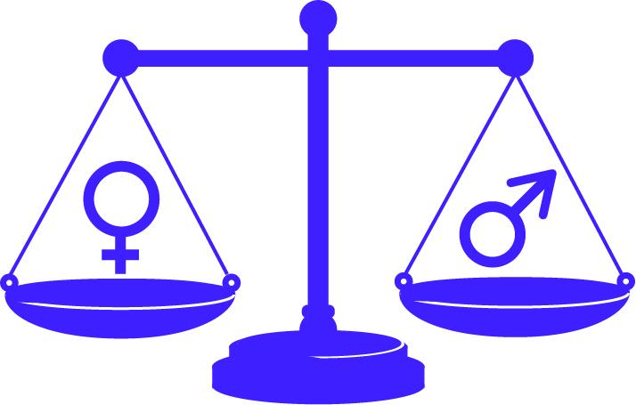 illustration av gammaldags lila balansvåg med tecknen för man och kvinna i var sin balansskål