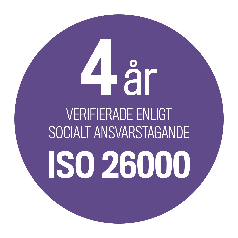 text fyra år verifierade enligt socialt ansvarstagande iso 26000