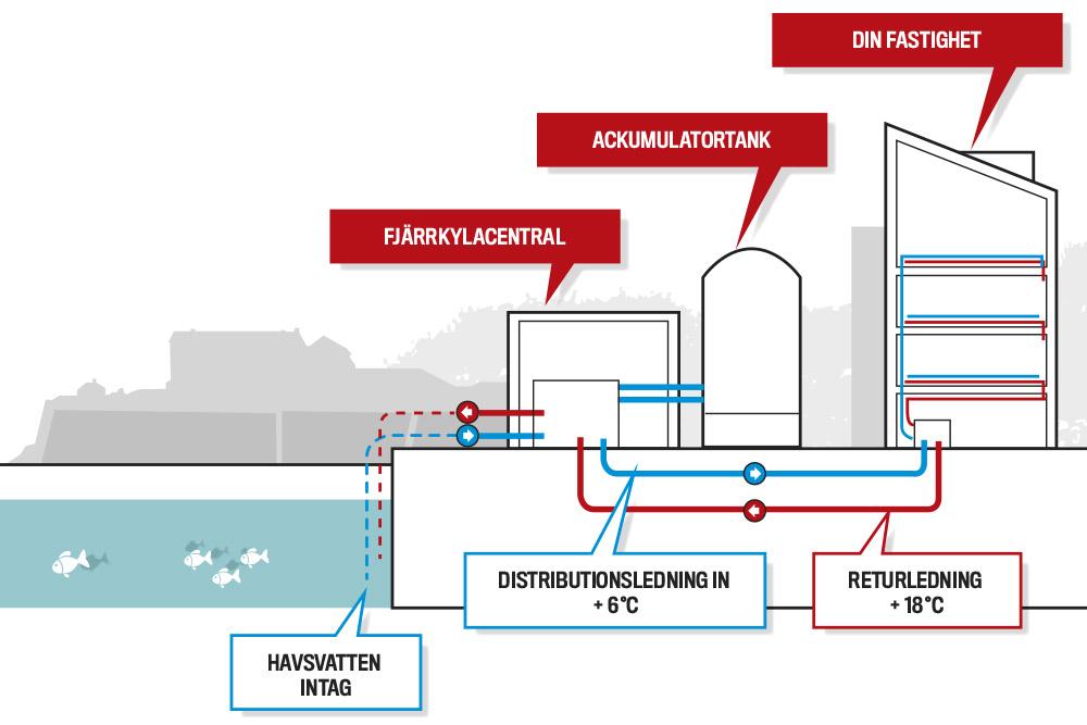 illustration i genomlysning över hur fjärrkyla fungerar