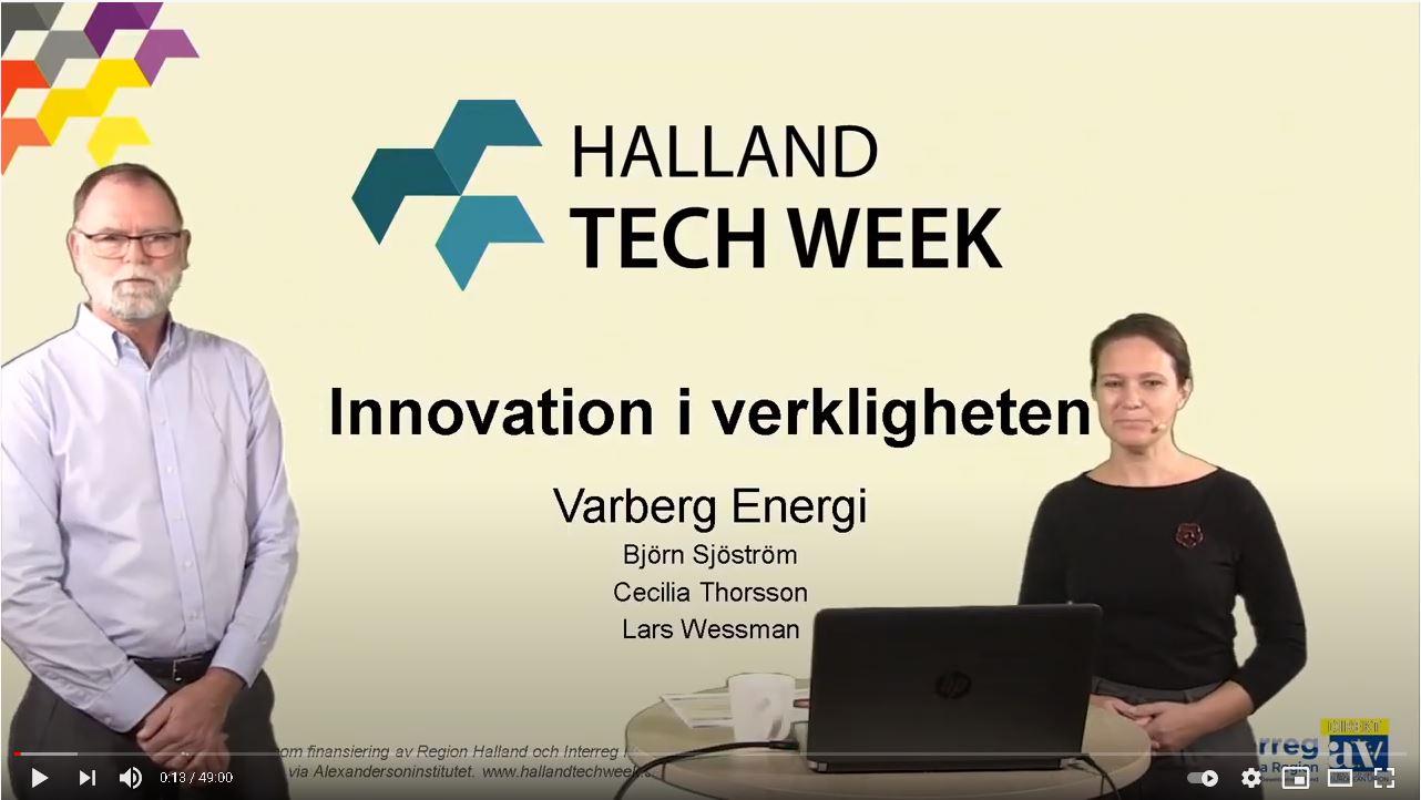 avbild youtube-klipp med två kollegor som håller ett framträdande med text Halland tech Week bakom sig på skärmen