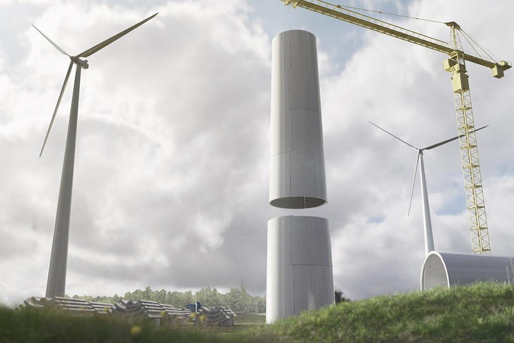 vindkraftverk som byggs upp en kran med ett färdigt kraftverk i bakgrunden