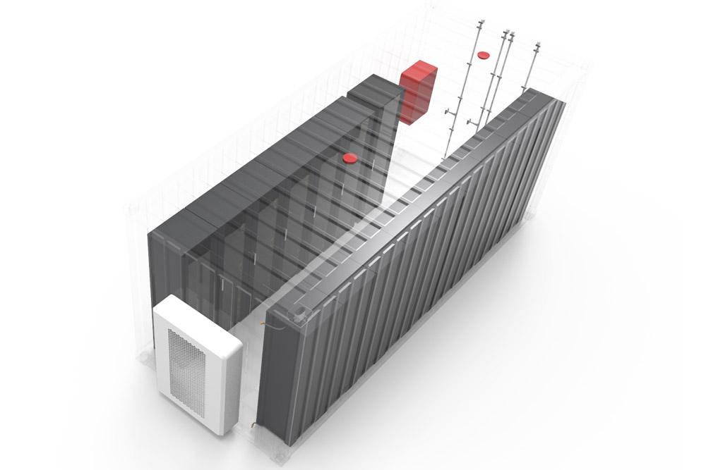 illustration genomskinligt nätbatteri från ovan